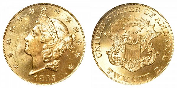 1865 Liberty Head $20 Gold Double Eagle - Twenty Dollars