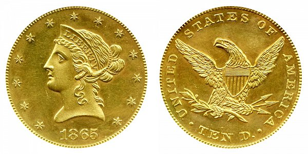 1865 Liberty Head $10 Gold Eagle - Ten Dollars