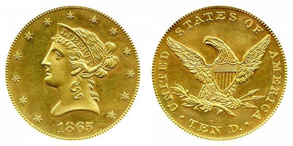 1865 Liberty Head $10 Gold Eagle - Ten Dollars
