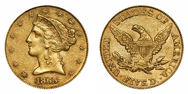 1865 Liberty Head $5 Gold Half Eagle - Five Dollars