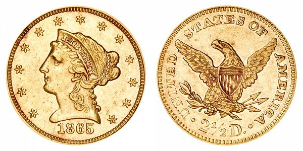 1865 Liberty Head $2.50 Gold Quarter Eagle - 2 1/2 Dollars