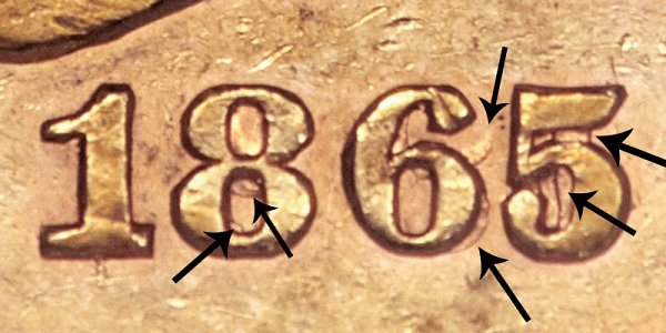 1865-S 865 Over Inverted 186 Liberty Head Gold Eagle - Closeup Example Image