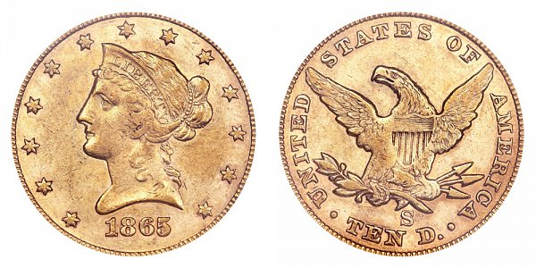 1865 S Inverted 186 - Liberty Head $10 Gold Eagle - Ten Dollars