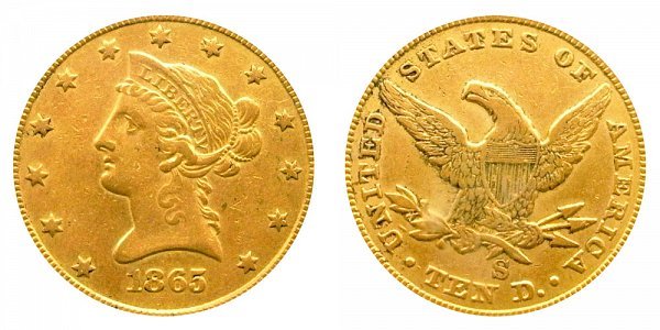 1865 S Liberty Head $10 Gold Eagle - Ten Dollars