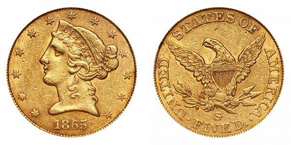 1865 S Liberty Head $5 Gold Half Eagle - Five Dollars