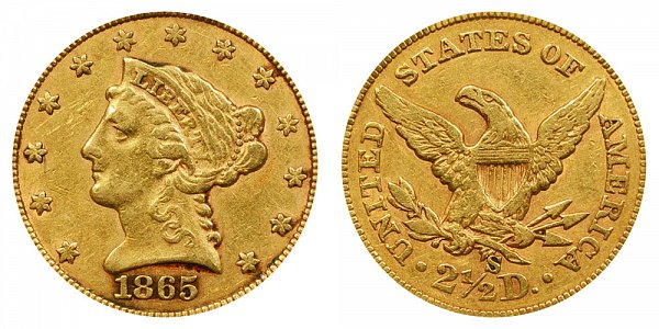 1865 S Liberty Head $2.50 Gold Quarter Eagle - 2 1/2 Dollars