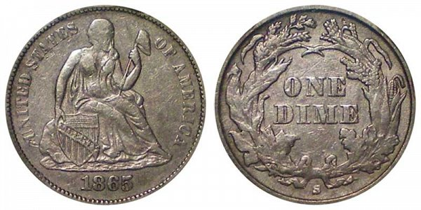 1865 S Seated Liberty Dime