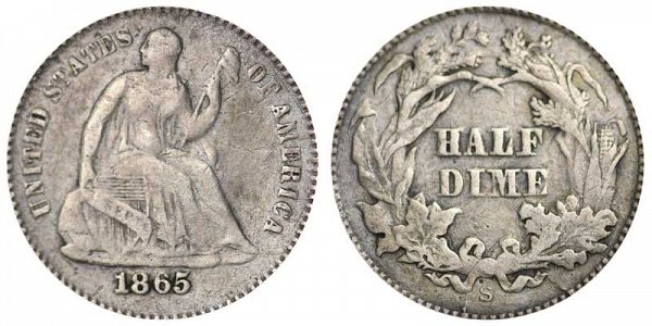 1865 S Seated Liberty Half Dime