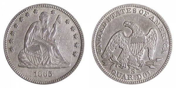 1865 S Seated Liberty Quarter