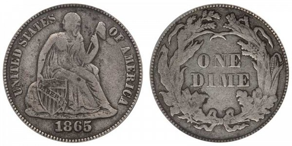 1865 Seated Liberty Dime