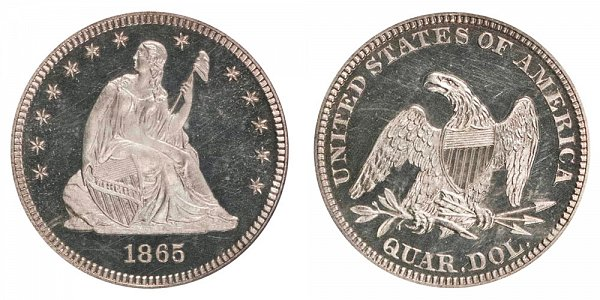 1865 Seated Liberty Quarter