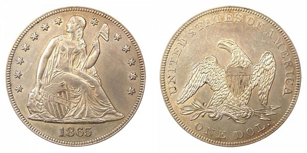 1865 Seated Liberty Silver Dollar