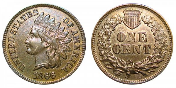 1866 Indian Head Cent Penny