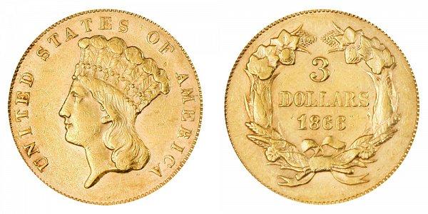 1866 Indian Princess Head $3 Gold Dollars - Three Dollars