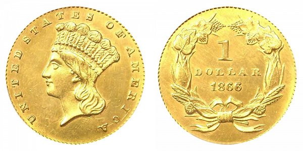 1866 Large Indian Princess Head Gold Dollar G$1