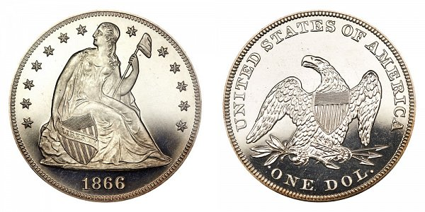 1866 Seated Liberty Silver Dollar - No Motto