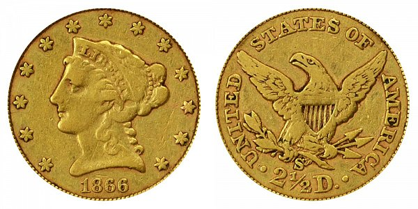 1866 S Liberty Head $2.50 Gold Quarter Eagle - 2 1/2 Dollars