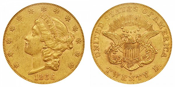 1866 S No Motto Liberty Head $20 Gold Double Eagle - Twenty Dollars