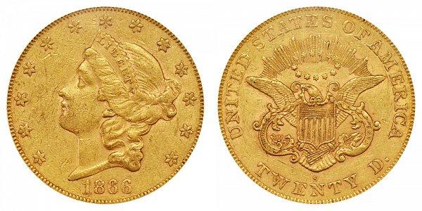 1866 S No Motto Liberty Head $20 Gold Double Eagle - Twenty Dollars