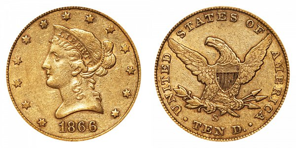 1866 S No Motto - Liberty Head $10 Gold Eagle - Ten Dollars