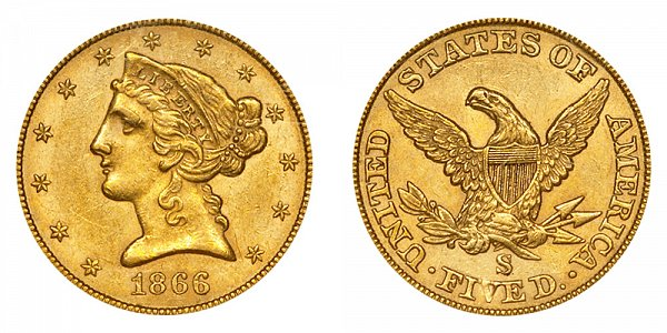 1866 S Liberty Head $5 Gold Half Eagle - No Motto - Five Dollars