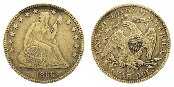 1866 S Seated Liberty Quarter