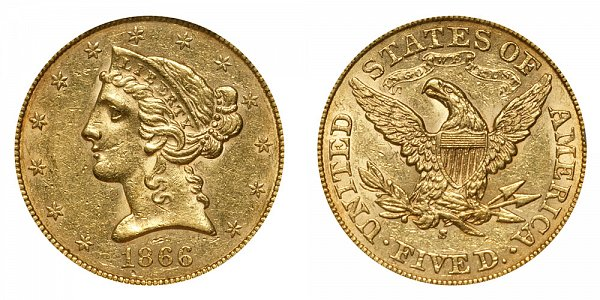 1866 S Liberty Head $5 Gold Half Eagle - With Motto - Five Dollars