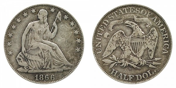 1866 S Seated Liberty Half Dollar - With Motto