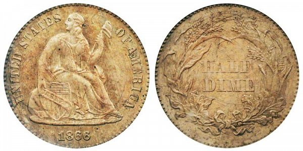 1866 Seated Liberty Half Dime