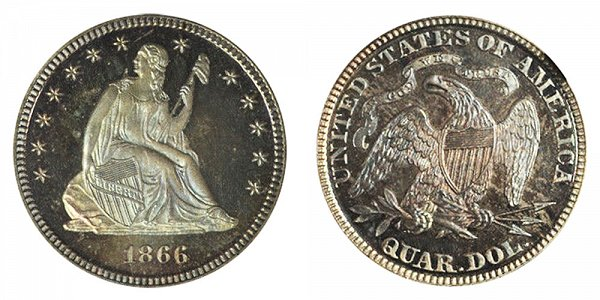 1866 Seated Liberty Quarter