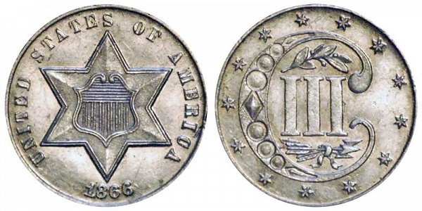 1866 Silver Three Cent Piece Trime