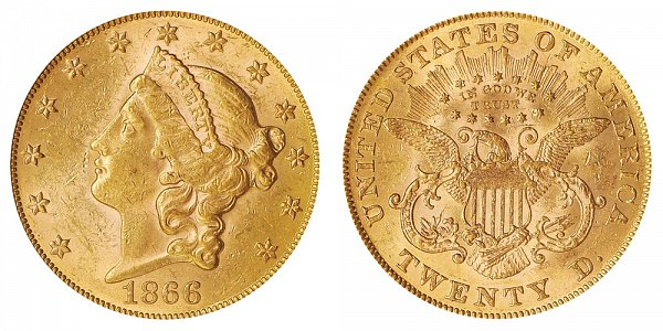 1866 With Motto Liberty Head $20 Gold Double Eagle - Twenty Dollars