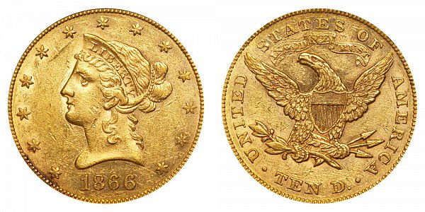1866 With Motto - Liberty Head $10 Gold Eagle - Ten Dollars
