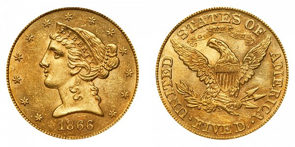 1866 Liberty Head $5 Gold Half Eagle - With Motto - Five Dollars