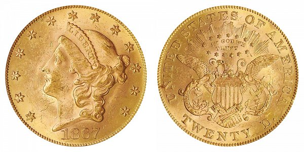 1867 Liberty Head $20 Gold Double Eagle - Twenty Dollars