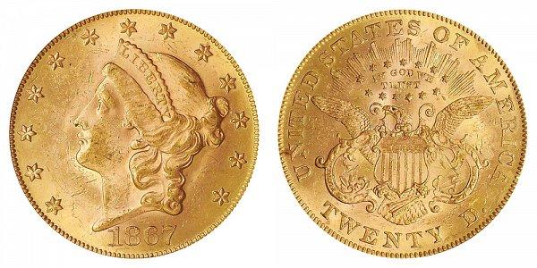 1867 Liberty Head $20 Gold Double Eagle - Twenty Dollars