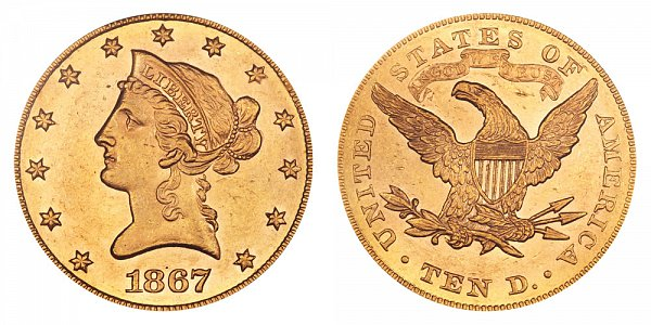 1867 Liberty Head $10 Gold Eagle - Ten Dollars