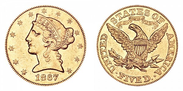 1867 Liberty Head $5 Gold Half Eagle - Five Dollars