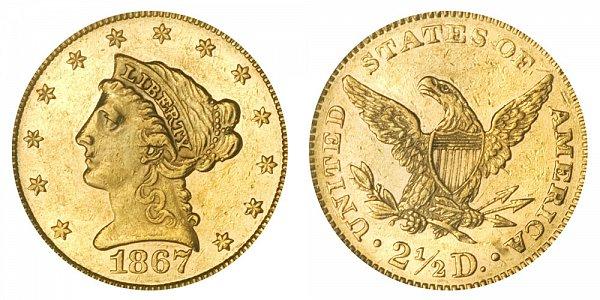1867 Liberty Head $2.50 Gold Quarter Eagle - 2 1/2 Dollars