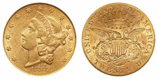 1867 S Liberty Head $20 Gold Double Eagle - Twenty Dollars