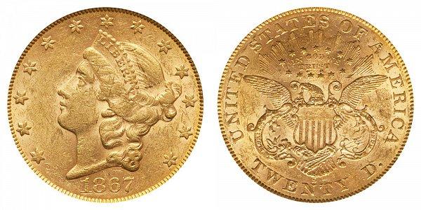 1867 S Liberty Head $20 Gold Double Eagle - Twenty Dollars