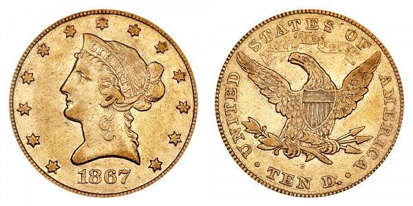 1867 S Liberty Head $10 Gold Eagle - Ten Dollars