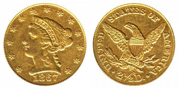 1867 S Liberty Head $2.50 Gold Quarter Eagle - 2 1/2 Dollars