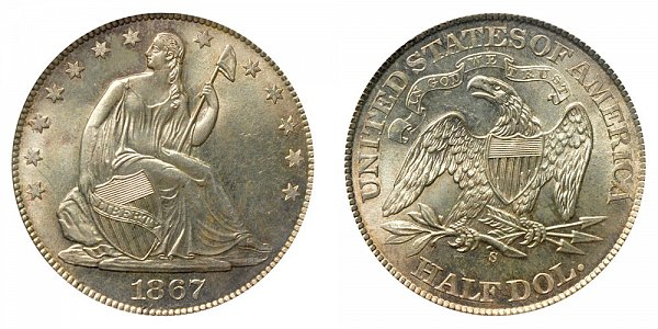 1867 S Seated Liberty Half Dollar