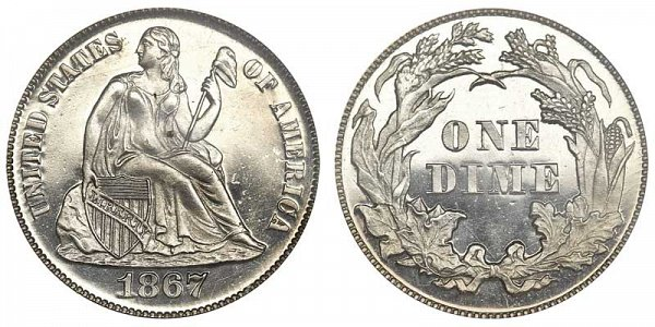 1867 Seated Liberty Dime