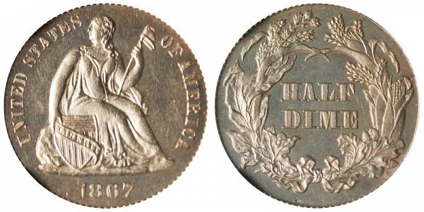 1867 Seated Liberty Half Dime