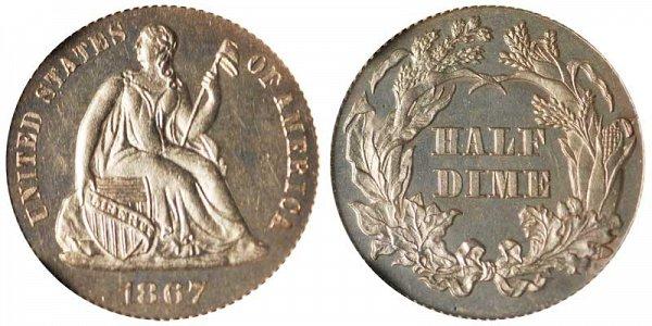 1867 Seated Liberty Half Dime