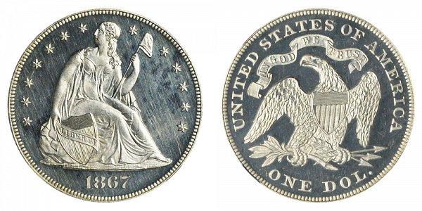 1867 Seated Liberty Silver Dollar