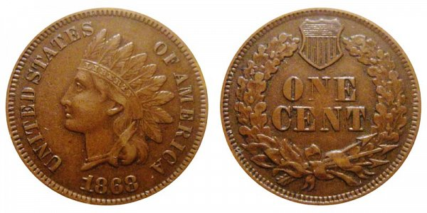 1868 Indian Head Cent Penny