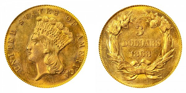 1868 Indian Princess Head $3 Gold Dollars - Three Dollars
